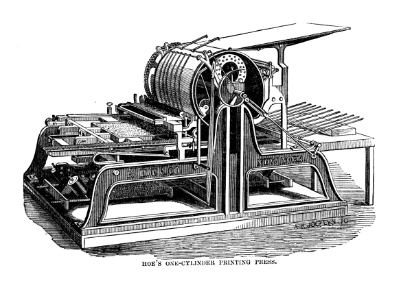 Hoe's_one_cylinder_printing_press