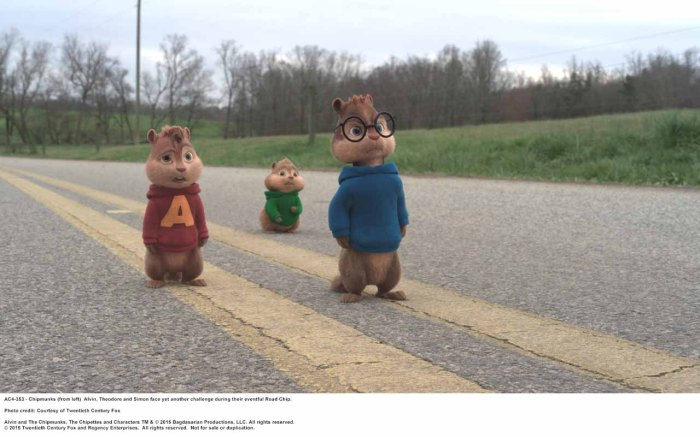 ALVIN AND THE CHIPMUNKS: THE ROAD CHIP Chipmunks (from left)Alvin,Theodore and Simon face yet another challenge during their eventful Road Chip. Photo credit: Courtesy of Twentieth Century Fox Alvin and The Chipmunks, The Chipettes and Characters TM & © 2015 Bagdasarian Productions, LLC. All rights reserved. © 2015 Twentieth Century Fox and Regency Enterprises. All rights reserved. Not for sale or duplication.