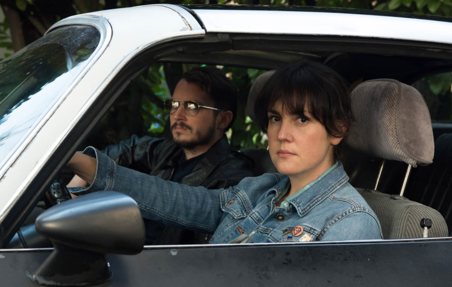 Melanie Lynskey and Elijah Wood appear in I Don't Feel at Home in This World Anymore by Macon Blair, an official selection of the U.S. Dramatic Competition at the 2017 Sundance Film Festival. © 2016 Sundance Institute | photo by Allyson Riggs.