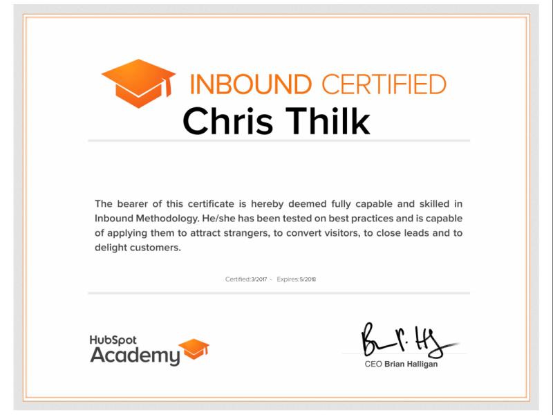 HubSpot Inbound Marketing Certification – Chris Thilk