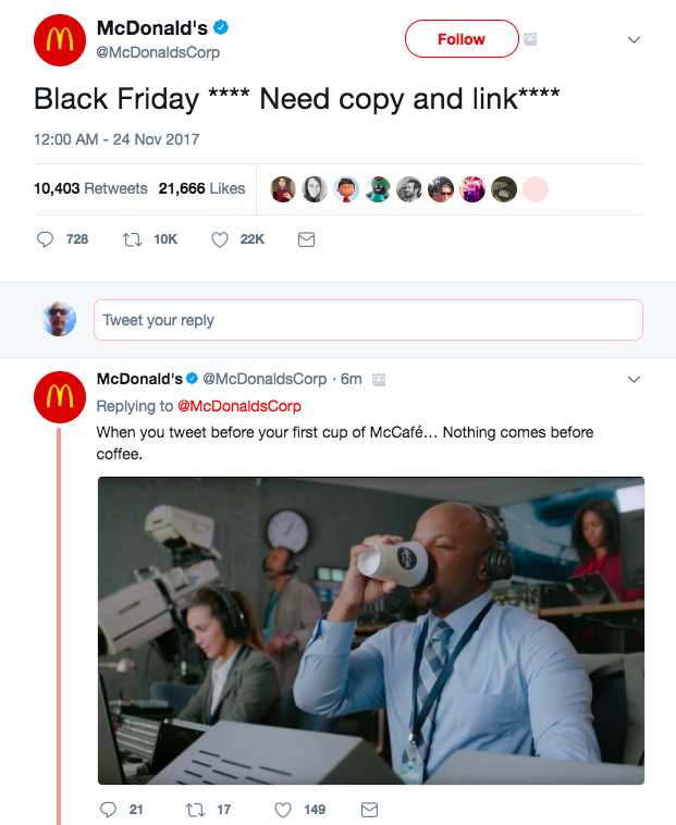 mcdonalds black friday tweet
