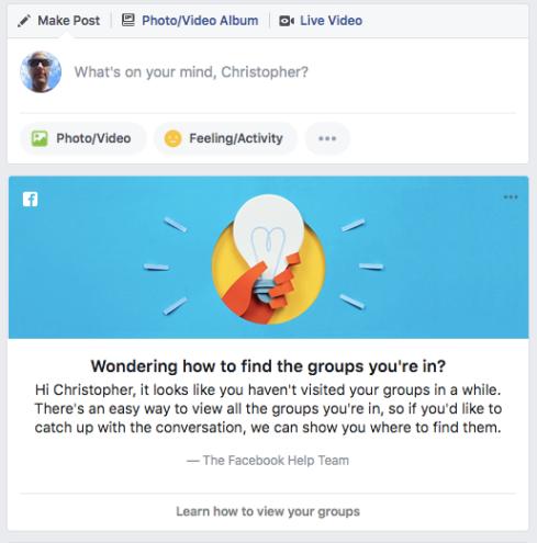 Facebook groups prompt