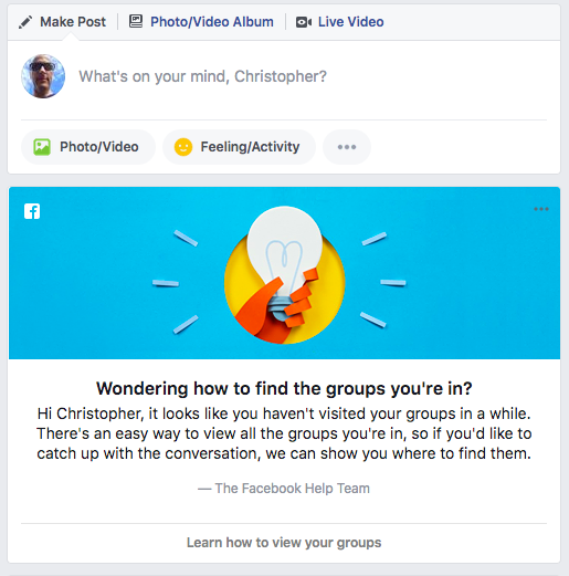 Facebook groups prompt