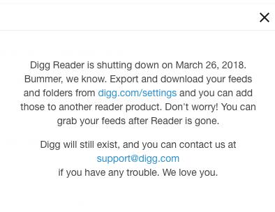 digg reader shutdown