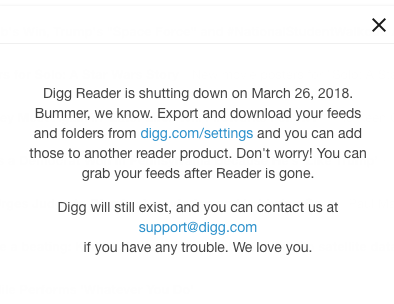 digg reader shutdown